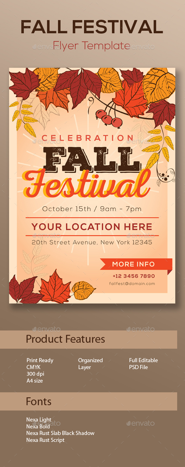 Fall Festival Flyer Template - Holidays Events