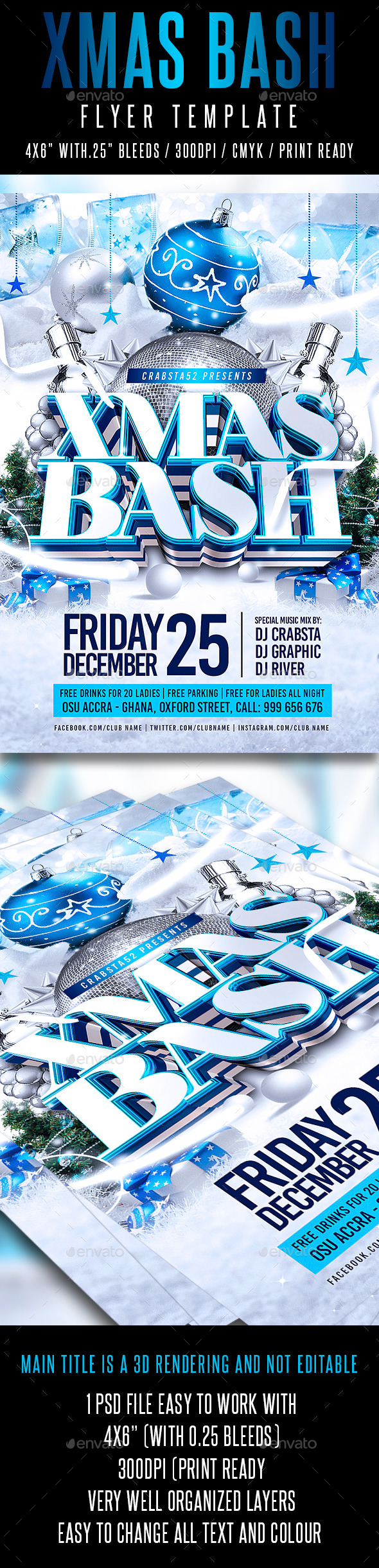 Xmas Bash Flyer Template - Flyers Print Templates