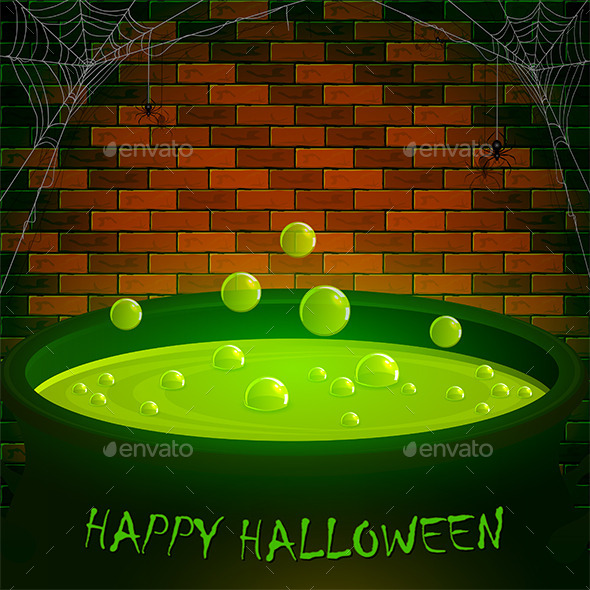Brick Wall with Spiders and Halloween Cauldron - Halloween Seasons/Holidays