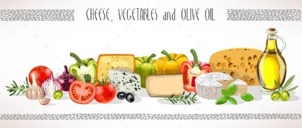 Olive Oil, Vegetables and Cheese Composition - Food Objects