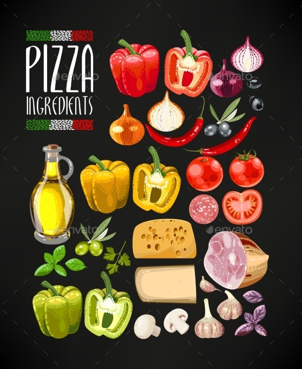 Set of Pizza Ingredients - Food Objects