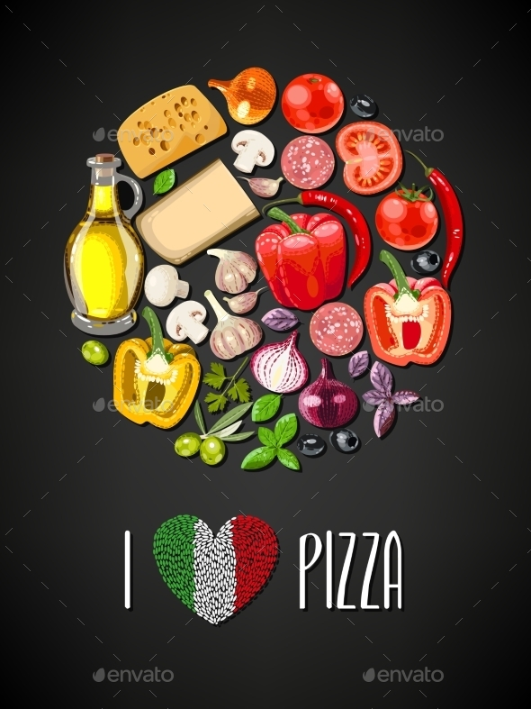 Ingredients for Pizza - Food Objects