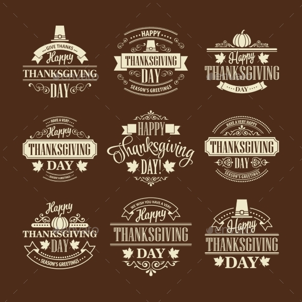 Typographic Thanksgiving Design Set - Seasons Nature