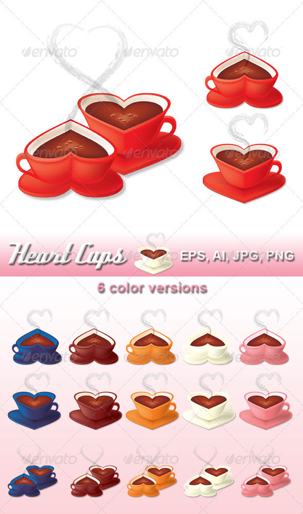 Heart Cups - Objects Vectors