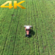 Aerial (2 Clips) Green Field and Tractor 2 - VideoHive Item for Sale