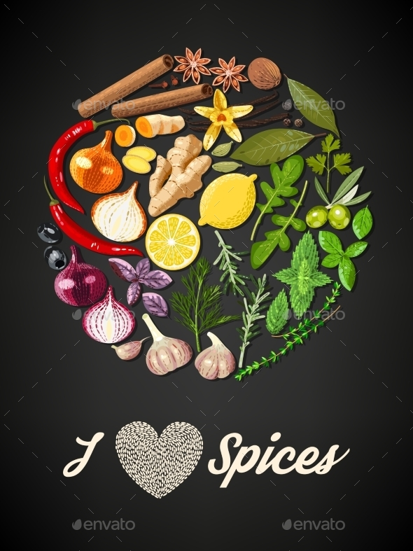 Circle of Spices - Food Objects