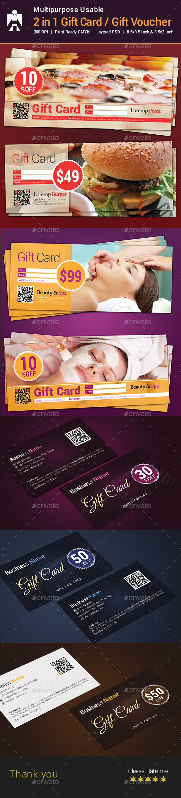 2 in 1 Gift Card / Gift Voucher - Cards & Invites Print Templates