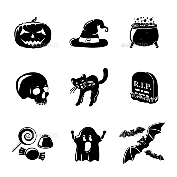Set Of Monochrome Halloween Icons -Pumpkin, Witch - Icons