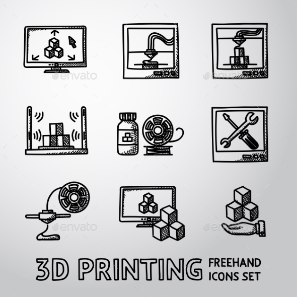 Set Of Handdrawn 3D Print Icons  - Printers, Pc - Icons