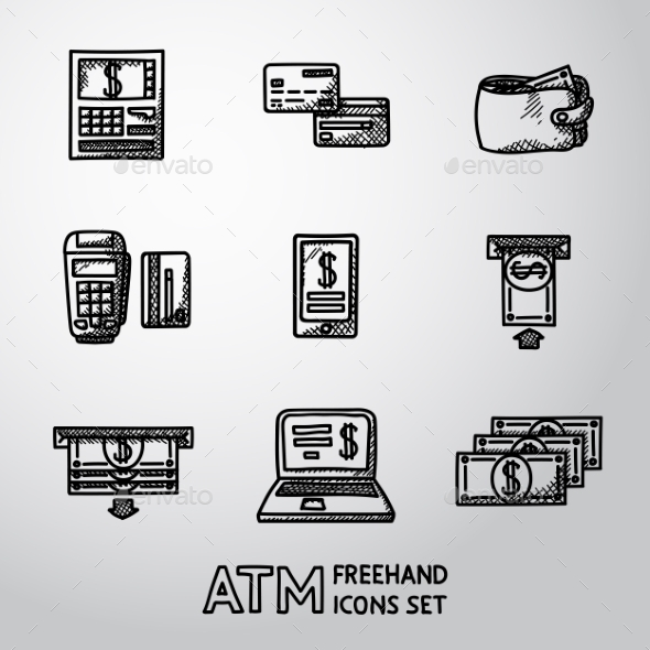 Set Of Freehand ATM Icons With - ATM, Cards - Icons