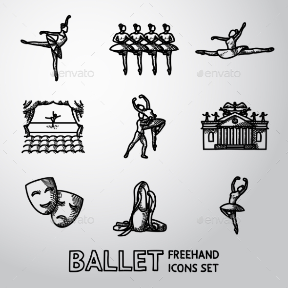 Set Of Ballet Freehand Icons With - Ballet Dancers - Icons
