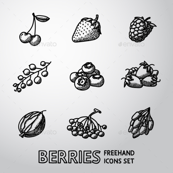 Set Of Freehand BERRIES Icons - Cherry, Strawberry - Icons