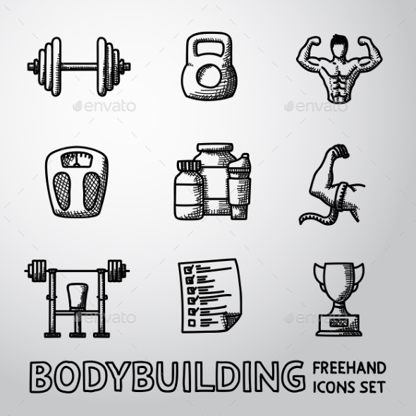 Set Of Bodybuilding Freehand Icons With - Dumbbell - Icons