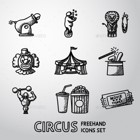 Set Of CIRCUS Freehand Icons With - Clown, Cannon - Icons