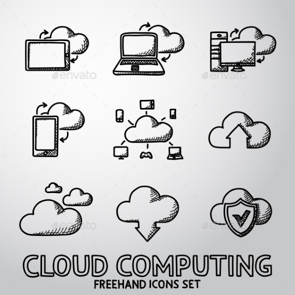 Set Of Handdrawn Cloud Computing Icons. Vector - Icons
