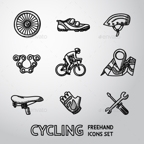 Set Of Cycling Freehand Icons  - Wheel, Shoe - Icons