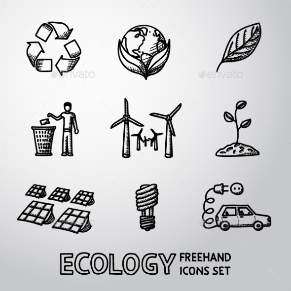 Set Of Handdrawn Ecology Icons  - Recycle Sign - Icons