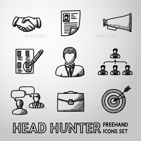Set Of Handdrawn Head Hunter Icons  - Handshake - Icons