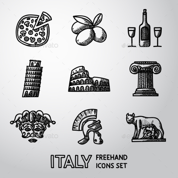 Set Of Italy Freehand Icons - Pizza, Olives, Wine - Icons