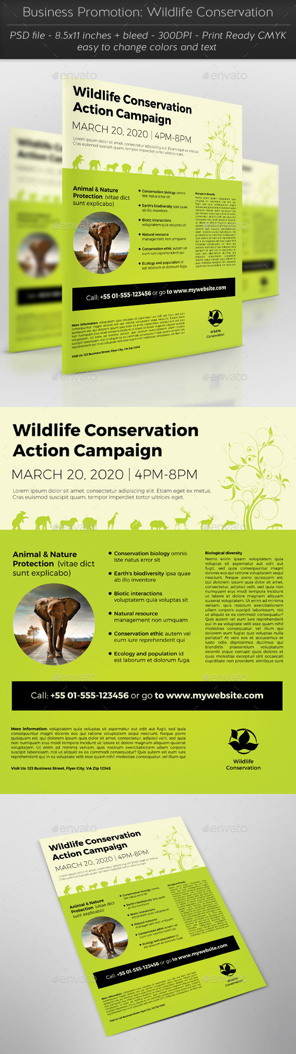 Business Promotion: Wildlife Conservation - Flyers Print Templates