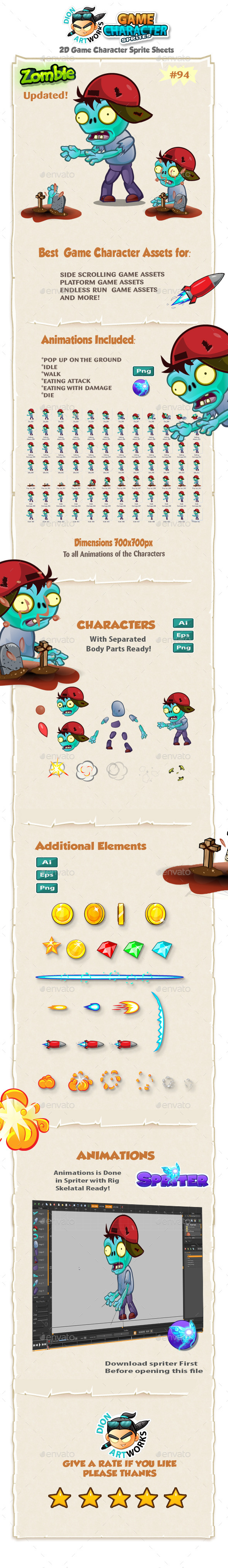 Zombie 2D Game Character Sprites 94 - Sprites Game Assets