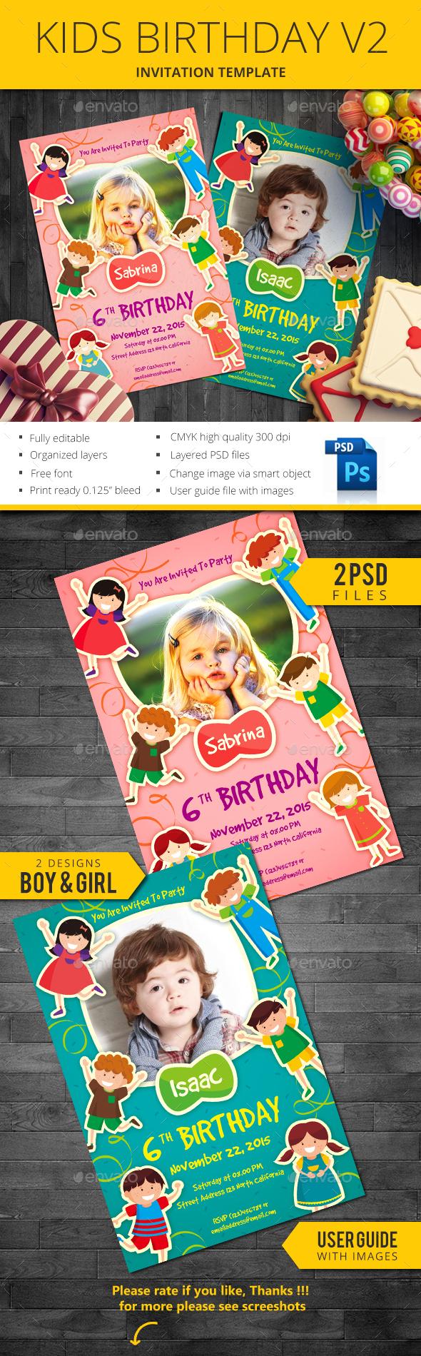 Kids Birthday V2 - Invitations Cards & Invites