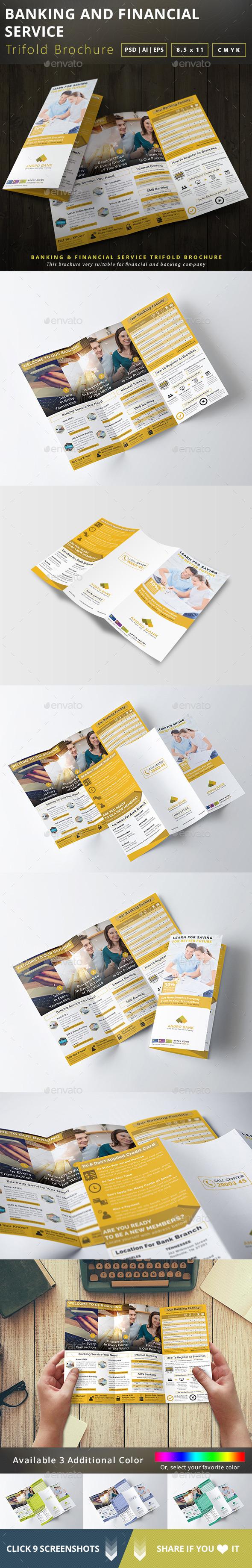 Banking and Financial Service Trifold Brochure - Brochures Print Templates