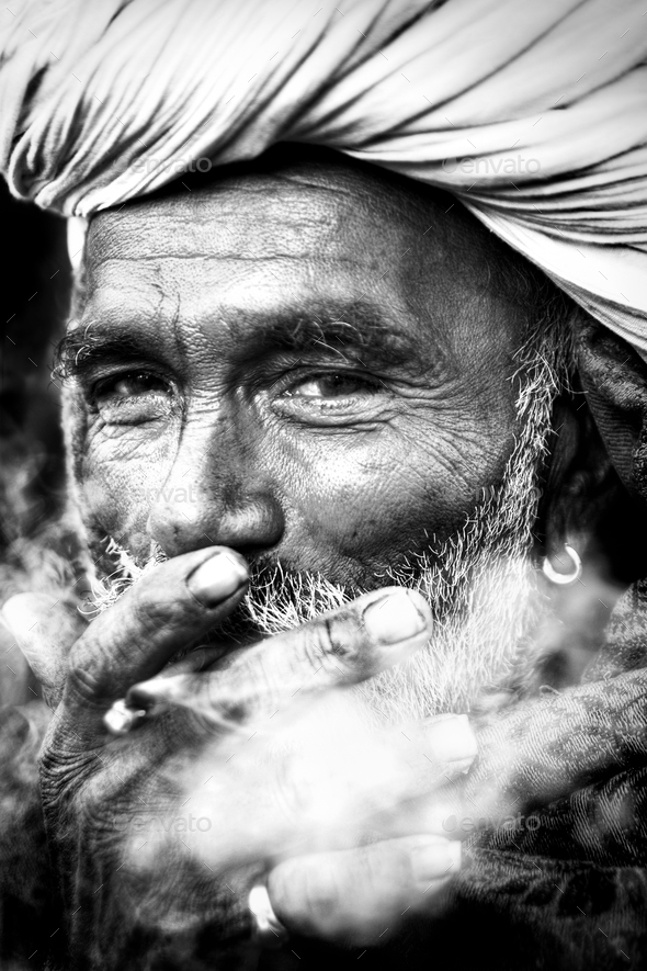 Indigenous Indian Man Smoking Happily Concept - Stock Photo - Images