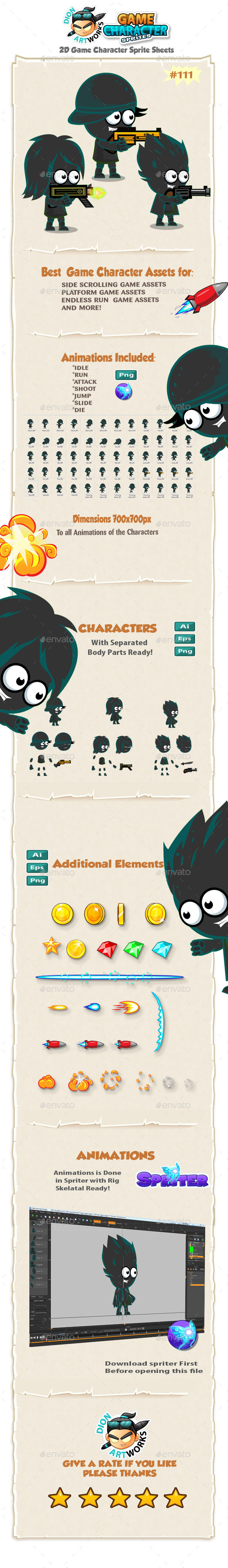Shadows Characters 2D Game Character Sprites 111 - Sprites Game Assets
