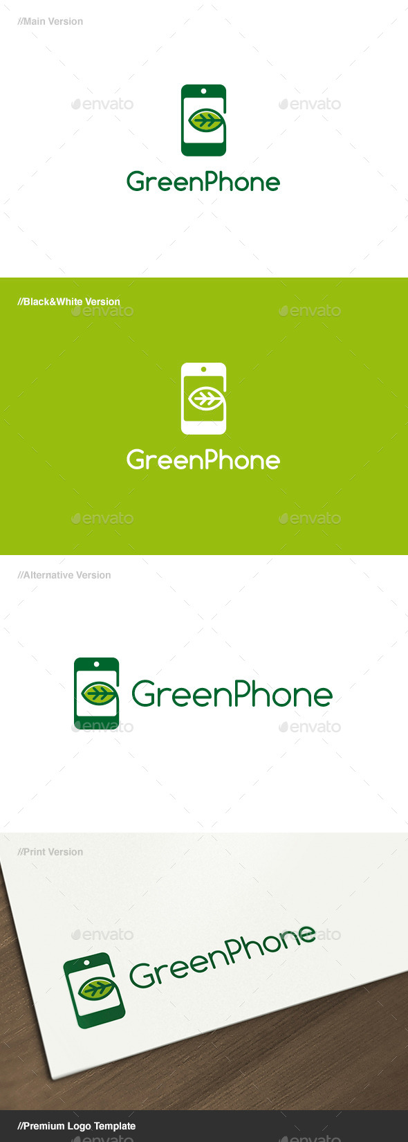 Green Phone Logo - Nature Logo Templates