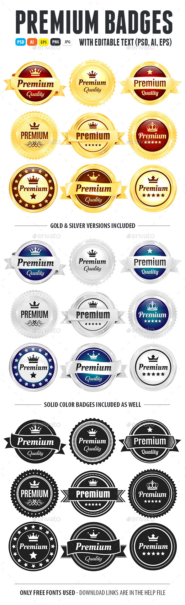 Golden And Silver Premium Quality Badges - Badges & Stickers Web Elements
