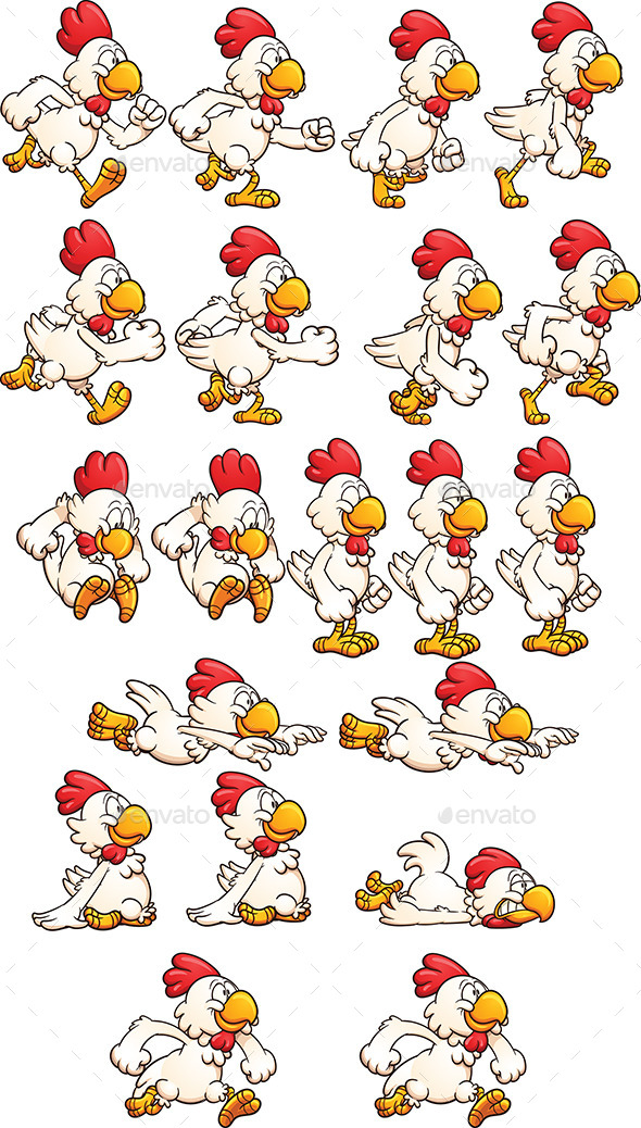 Running Chicken - Sprites Game Assets