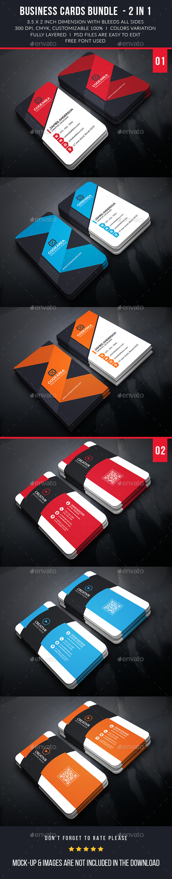Shape Corporate Business Card Bundle - Business Cards Print Templates