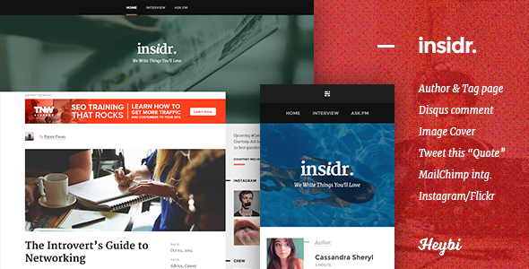 Insidr: Responsive Theme for Writer - Ghost Themes Blogging