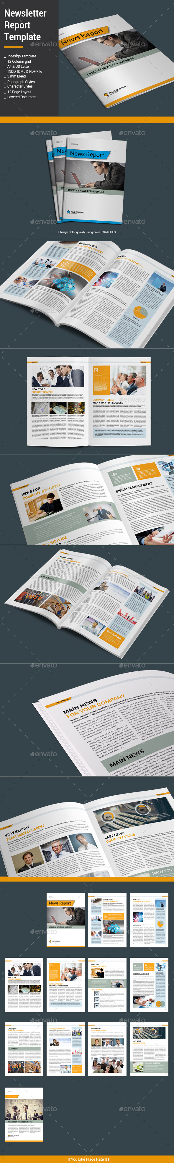 Newsletter Report Template - Newsletters Print Templates