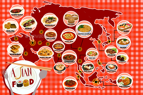 Asian Food Infography - Food Objects