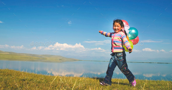 Asian Girls Playing Lake Happiness Relax Concept - Stock Photo - Images
