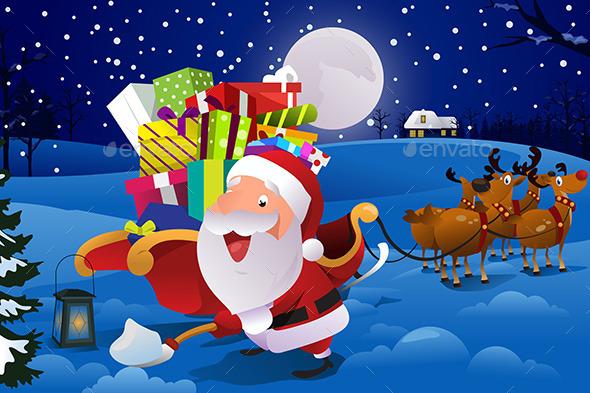 Santa Claus with Sleigh Shoveling Snow - Christmas Seasons/Holidays