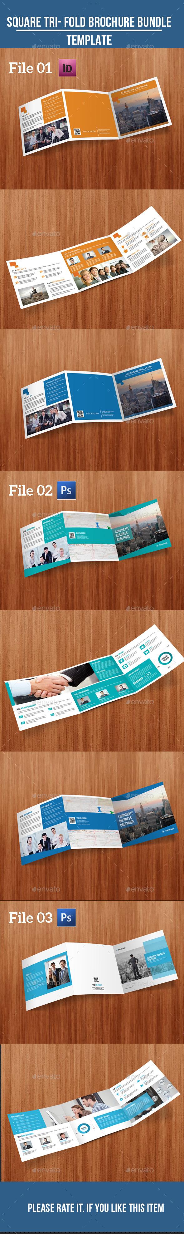 Square Tri- fold Business Brochure Bundle - Corporate Brochures