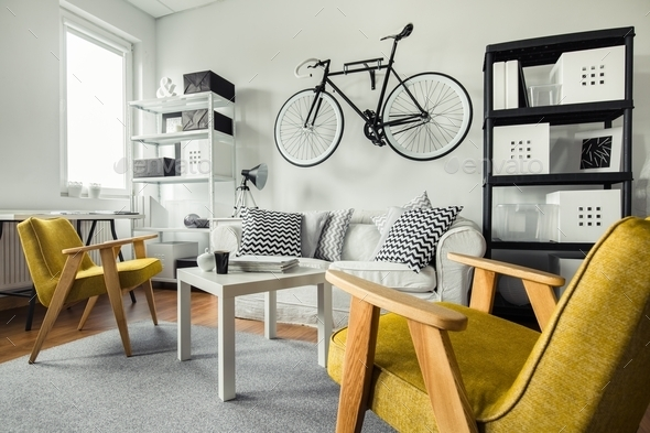 Yellow armchairs in living room - Stock Photo - Images