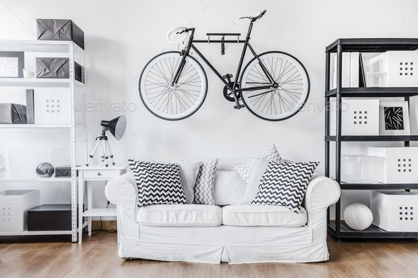 Black and white contemporary interior - Stock Photo - Images
