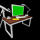 Office Table With the Monitor and the Green screen - VideoHive Item for Sale