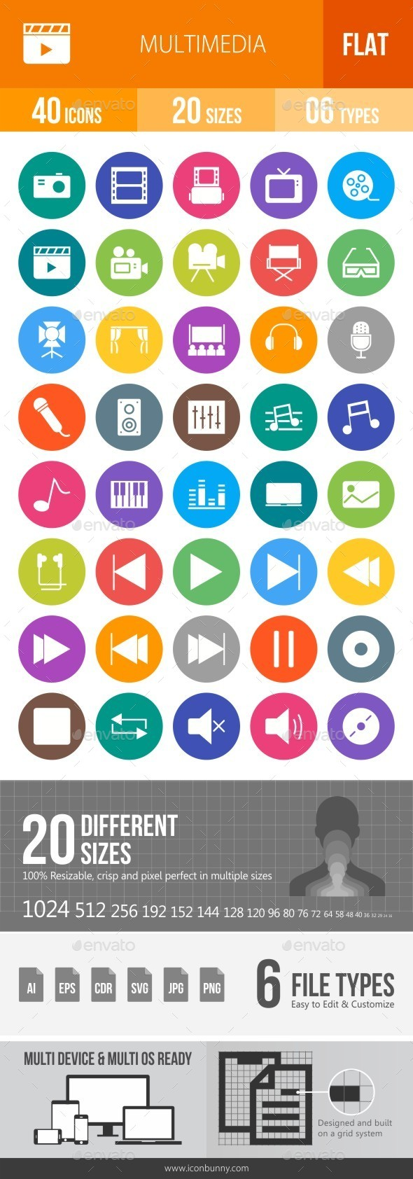 Multimedia Flat Round Icons - Icons
