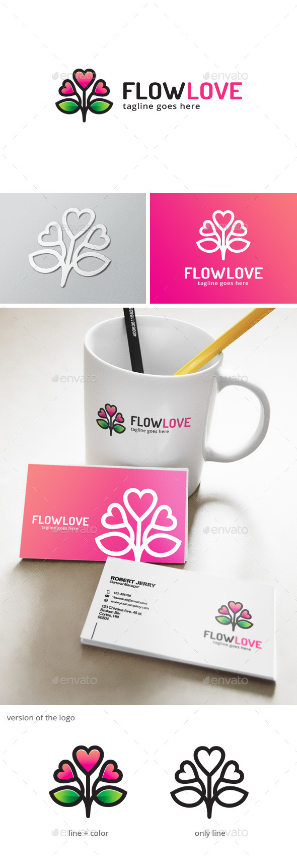 Flower Love Logo - Nature Logo Templates