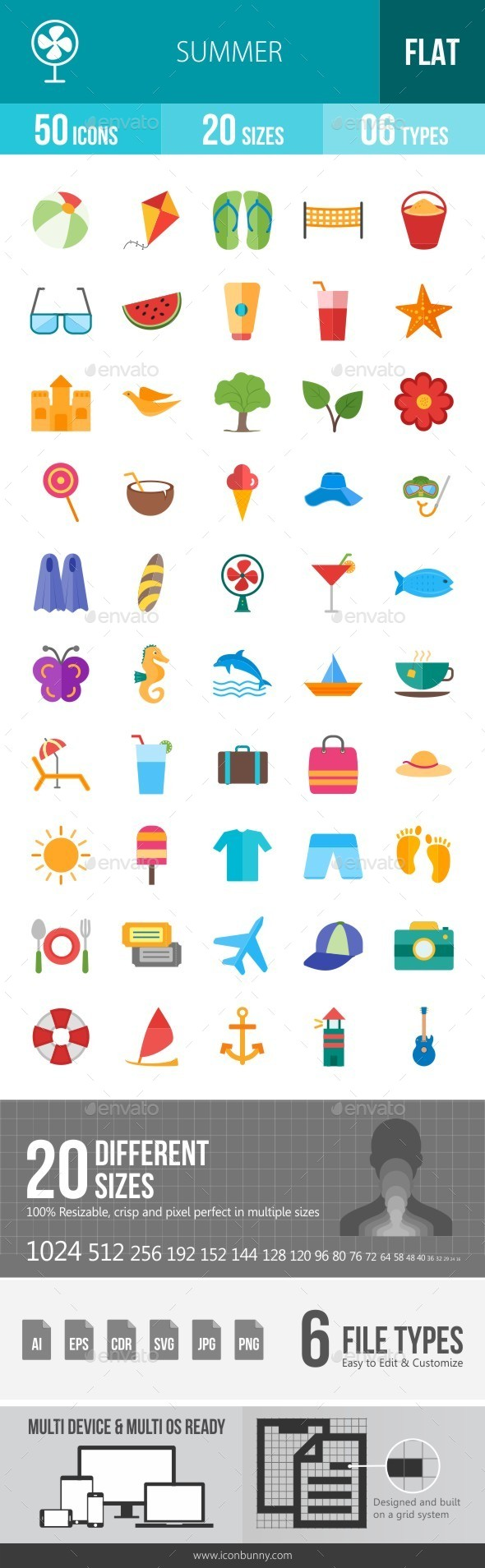Summer Flat Multicolor Icons - Icons