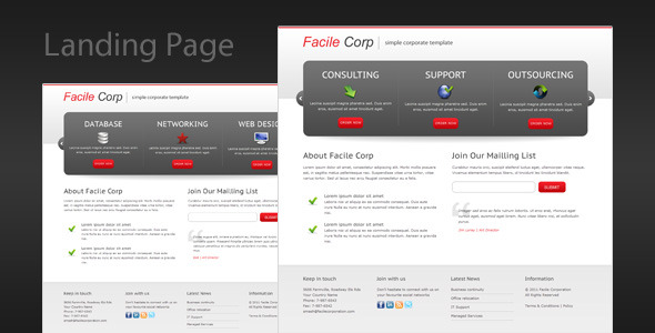 Facile Corp – Clean and Professional Landing Page