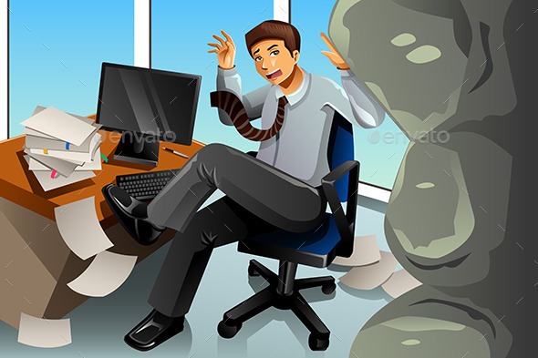 Businessman Between Rock and Hard Place Concept - Concepts Business