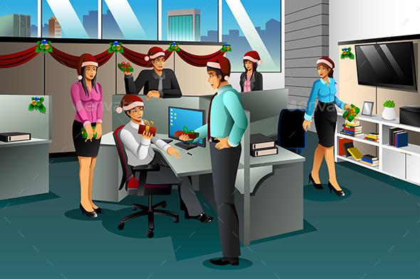 Business People Exchanging Christmas Gift - Christmas Seasons/Holidays