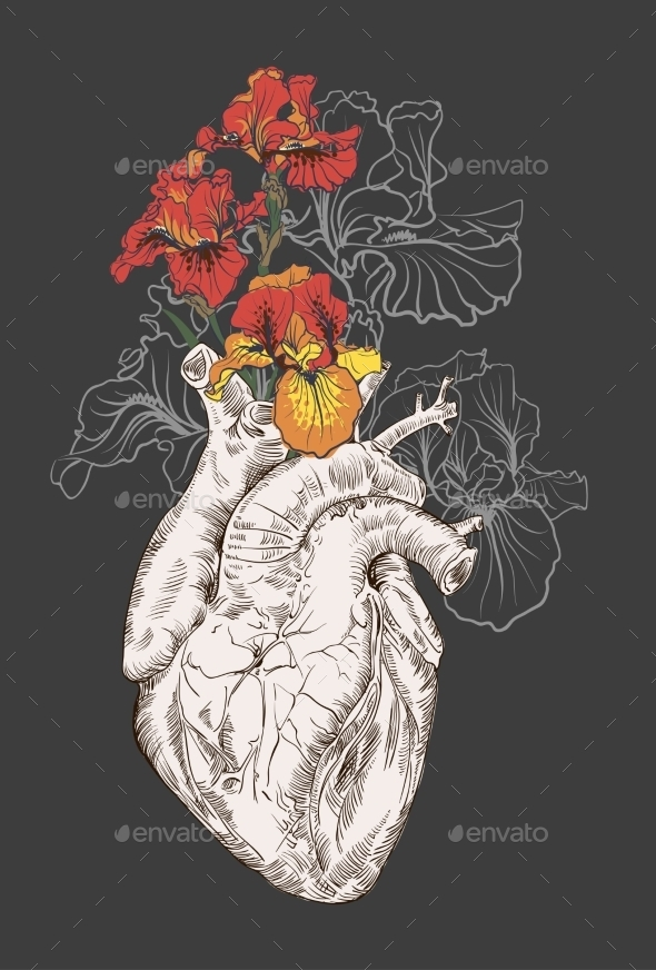 Drawing Human Heart With Flowers  - Flowers & Plants Nature