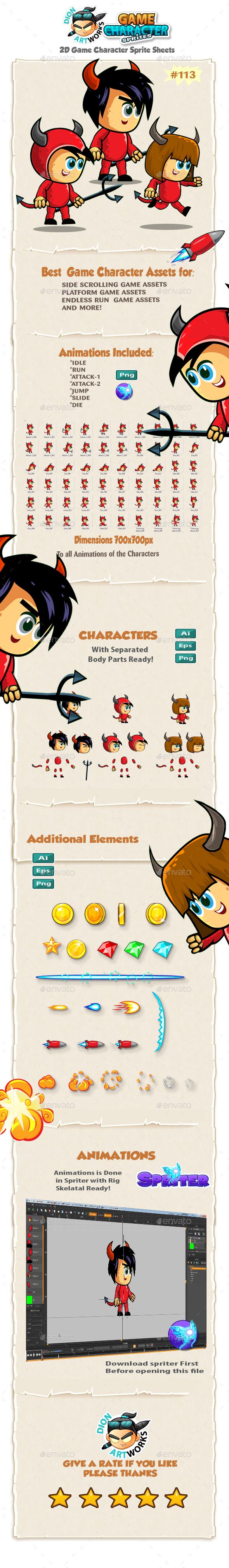 Devil Kids 2D Game Character Sprites 113 - Sprites Game Assets